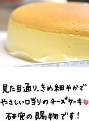 見た目通り、きめ細やかでやさしい口当たりのチーズケーキ。研究の賜物です!