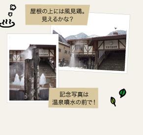 記念写真は温泉噴水の前で!屋根の上には風見鶏。見えるかな?