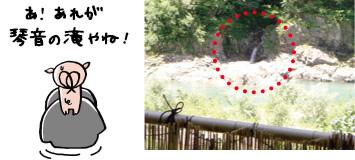 露天風呂から見る「琴音の滝」